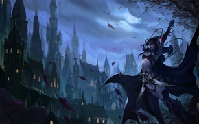Art, elf, night, city, leaves, weapon, sword