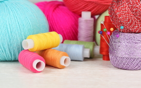 needlework, thread, knitting, sewing, bright, needles
