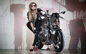 БМВ, мотоцикл, байк, тюнинг, фара, девушка, красотка, фон, Мотоциклы