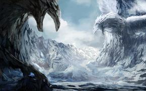 Art, landscape, Winter, snow, canyon, canyon, Sculpture, Birds, Griffins, travelers