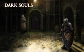 dark soul, knight, woman, temple