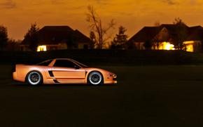 mangiatoie, Honda, Arancione, casa, tramonto, Honda