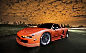 mangiatoie, Honda, Arancione, nuvole, tramonto, Honda
