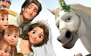 Rapunzel, Felice per sempre, Ingarbugliato, cartone animato, Breve, Sposo, sposa, felicit, Flynn, maximus, pascal, Principessa, rapinatore, cavallo, camaleonte, ragazze, bambini, matrimonio