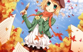 арт, вокалоид, девочка, осень, листья, бумага, записи, перо, шорты, берет, шарф, роза, розочка
