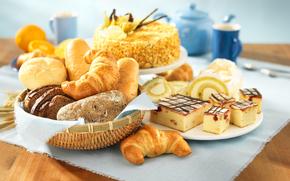 круассаны, торт, хлеб, булочки, бисквит, пирог