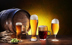 barrel, glasses, goblet, mug, beer, foam, ears, plate, light, dark