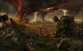 Soldiers, zone, thunder, clouds, tornado