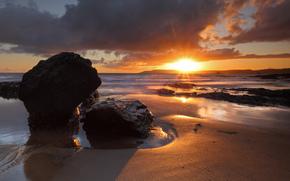 mar, playa, piedras, ondas, sol