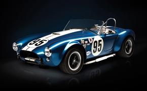Shelby, cobra, Supercar, anteriore, blu, crepuscolo, supercar