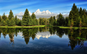 река, горы, лес, сша, утро, небо