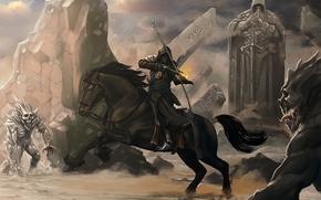 Arte, cavallo, cavallo, ciclista, arco, arciere, pietre, Rocks, Mostri, statua, colonna, caratteri, fuoco, cappuccio