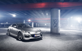 Mazda, Silver, concrete base, reflections, Mazda