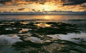 nature, sky, clouds, sunset, water, coast, sea