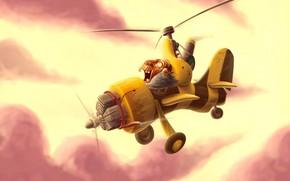 disegno, elicottero, nonno