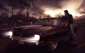 Arte, citt, notte, smog, uomo, auto, sigaretta