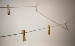 corda, clothespins, Macro