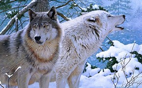 Wolves, Winter, painting