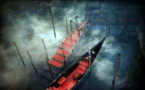 венеция, италия, канал, вода, пристань, помост, красные коврики, утро, туман, ступени, гондола, шесты