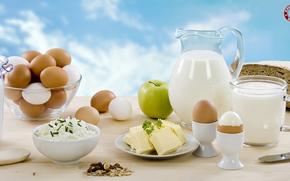 еда, завтрак, молоко