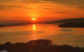 lake, sunset, coast