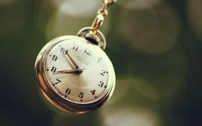 макро, часы, циферблат, стрелки, цепочка, боке