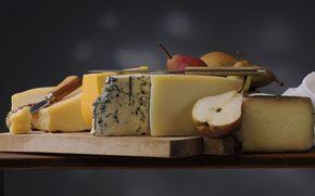 cheese, Knives, pears, still life
