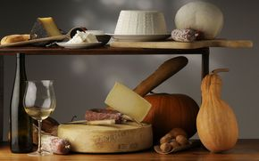 cheese, sausage, Nuts, bottle, wine, goblet, Pumpkin, still life