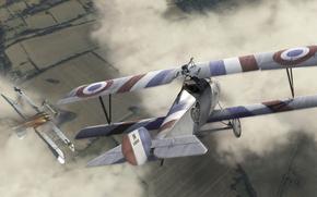 Самолет, биплан, небо, Франция