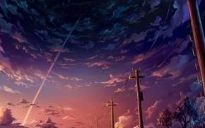 Trees, Star, clouds, column, sky, landscape