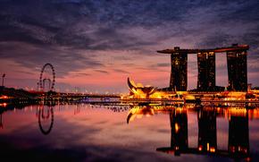 Ville, Singapour, htel, nuit, soire
