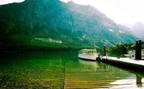 mountain lake, berth, cutter
