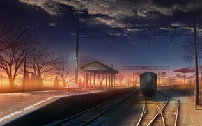 Art, train, platform, evening, sunset, railroad, station