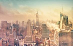 New York, Manhattan, fumare, smog