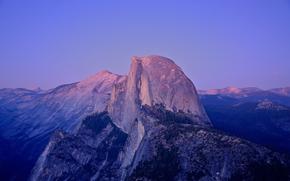 Parc national de Yosemite, Californie, USA, Half Dome, roche granitique, coucher du soleil, clair de lune
