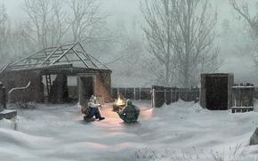 Chernobyl, Ukraine, village, snow, Winter