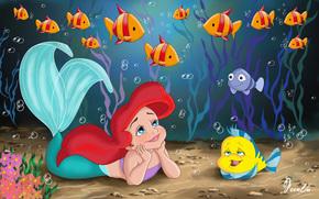 Little Mermaid, Principessa, Ariel, Walt Disney, cartone animato, infanzia, sirena, bellezza, bambino, mare, Sunfish, pesce, erbaccia, storia, fanart