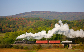 train, engine, iron, road, pipe, smoke, steam, cars, FURNACE, coal, forest, Trees, greens, nature, horizon, sky, Other machinery and equipment