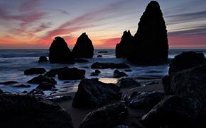 evening, sunset, sea, rocks, Silhouettes