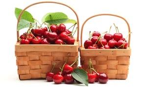 черешня, ягоды, красные, корзинки