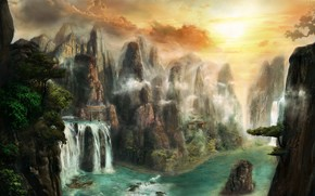 арт, фантастический мир, пейзаж, скалы, горы, врата, водопад, река, вода, храм, деревья, камни