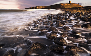 nature, sea, coast, stones, waves, Streams, rocks, fortress