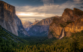 ATIONAL Yosemite Park, Mountains, sky, forest, waterfall