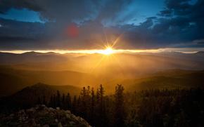 黎明, 太阳, 山, 天空, 云, 岩石, 树