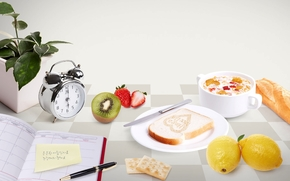 утро, завтрак, ежедневник, ручка, крекеры, будильник, цветок, киви, клубника, тарелка, нож, тост, лимоны, чашка, молоко, хлеб, стол