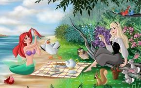 Walt Disney, Little Mermaid, Sleeping Beauty, story, fanart, Cartoon, mermaid, princess, Ariel, Aurora, fantasy, sea, coast, Trees, Flowers, Tea Party, picnic, Birds, seagull, owl, squirrel, Hares