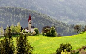 Nature, fort, Montagnes, herbe, chapelle, maison, printemps