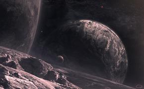 spazio, Pianeta, Stella, Satelliti, paesaggio, superficie