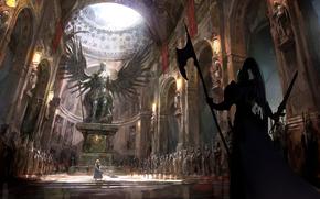 Art, temple, girl, War, weapon, statue, wings