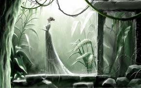 девушка, прогулка, дождь, профиль, причёска, лианы, папоротник, деревья